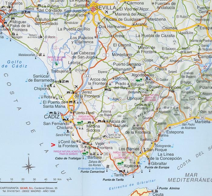 Andalusien Karte Spanien.Conil Appartements Ferienwohnungen Direkt An Der Costa De La Luz